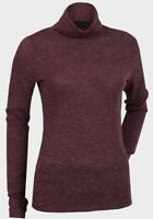 EX-CHAINSTORE WINE COLOUR FINE KNIT JERSEY MARL COWL NECK / POLO TOP - 6 - 20