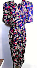 Ms Chaus Vtg Dress Sz 14 Red White Blue Floral Matching Belt Gold Pearl Buttons