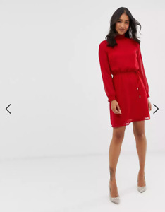 Oasis Women Red High Neck Dress Size 12
