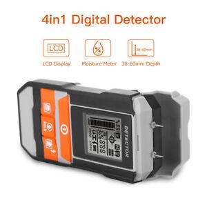 4in1 Moisture Meter Tester Wood LCD Humidity Hygrometer Detector Pinless Probe F