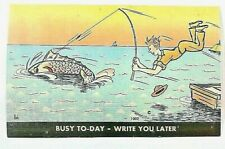 "VINTAGE 1930-40's Comic Cartoon ""Busy - Write You LATER !!"" LINEN Unused PC 1026"