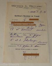 Ancien CERTIFICAT d'ACCIDENT de TRAVAIL 1928 à la CARROSSERIE LEROY COURBEVOIE