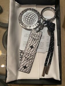 Stylish MCM Club Keychain Charm In Silver Visetos And Black NEW! 100% Authentic!