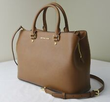 Michael Kors Acorn Brown Saffiano Leather Saffiano Savannah Large Satchel