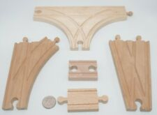 Wooden Railway Train Tri Switch T-shaped Track Lot x5 w Adapters V-Shaped Thomas