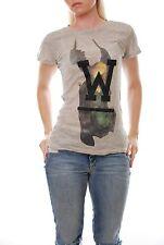 Wildfox Angel With W Skinny Crewneck Women Tee Grey Size S T-Shirt RRP £54 BCF55