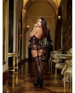 LACE FISHNET HALTER GARTER DRESS BODYSTOCKING WITH OPAQUE BODICE STYLE OS & QN