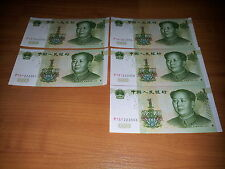 CHINA  5 x 1 YUAN , CHINESE  BANKNOTES , CURRENCY , NOTES 1999 & UNC