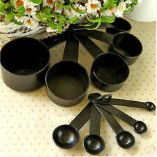10 pièces Plastique Noir Cuillère De Mesure Tasse Set Cuisinière cuillère