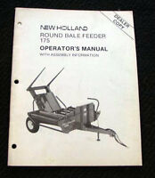 ORIGINAL SPERRY NEW HOLLAND 175 ROUND BALE FEEDER OPERATORS MANUAL NICE