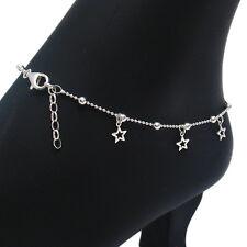 """Sterling Silver 9""""-10"""" Adjustable Dangling Stars Beaded Ankle Bracelet Anklet"""