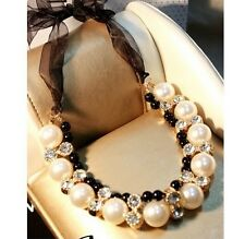 Fashion Woman Western statement elegant Pearls choker Pendant necklace