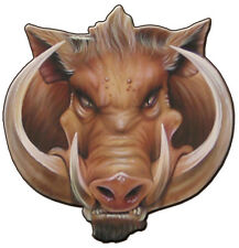 BOAR HEAD RAZORBACK 300MM BY290 MM VINYL DECAL GLOSS LANINATED AUSTRALIAN MADE