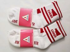 Chasse Live Love Cheer Socks - Red and White Youth Size 7-9 Cheerleader 2 Pair