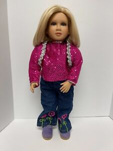 """My Twinn Doll 23"""" Blonde Hair Lavender Eyes Necklace and Clothes Poseable"""