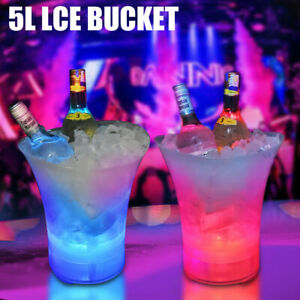 5L ICE BUCKET 7 LED Colour Changing Champagne Wine Beer Drink Cooler Home Party