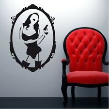 Wall Sticker Decal Vinyl Decor Woman Sex Beauty Lingerie Mirror Gun