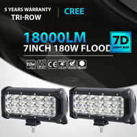 "Tri-Row 7""Inch 180W Cree Led Work Light Bar FLOOD Offroad Driving 4WD Truck SUV"