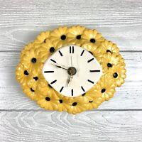 Vintage '74 Ceramic Yellow Daisy Wall Clock Atlantic Mold Floral