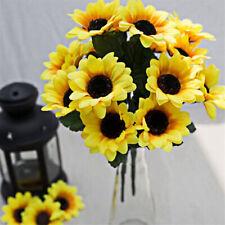 Fake Silk Artificial 7 Heads Sunflower Flower Bouquet Floral Garden Home Decor