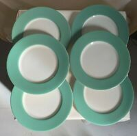 "Japan, SIX teal-green border salad/dessert plates. 1960s. Fine china  8 3/8"" d."
