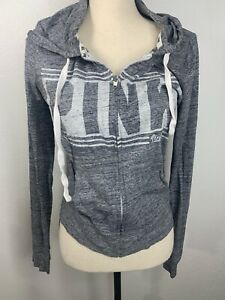 Pink Victoria's Secret VS White Grey Zip Up Pullover Sweater Small S