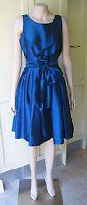 Dressmaker Design Taffeta 1950's Style Pleated Blue Evening Dress S-M