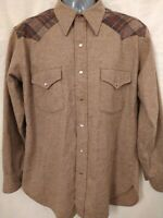 Vintage PENDLETON Board Shirt Brown Plaid 100% Virgin Wool USA Loop Surfer Sz Lg