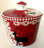 "222 Fifth Northwood Cottage Canister w/ Lid Red Ceramic Winter Christmas 5""H EUC"
