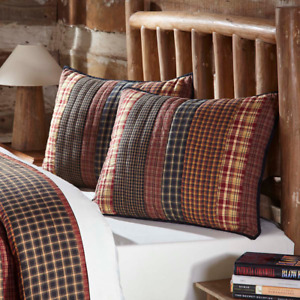 BECKHAM STANDARD SHAM : COUNTRY BROWN RED PLAID LODGE CABIN QUILTED PILLOW COVER