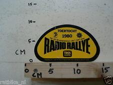 STICKER,DECAL RADIO RALLYE TOERTOCH 1980 TROS KOMPAS