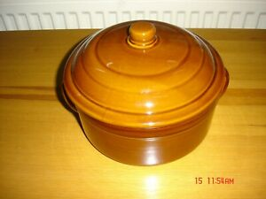 Casserole Dish Round Lidded Brown Glazed Ceramic