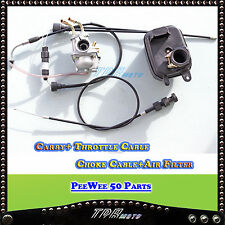 For Yamaha PEEWEE PW50 PY50 Carburetor Air Filter Box & Throttle & Choke Cable