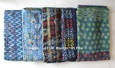 Indigo Kantha Quilt Vintage Throw 100% Cotton Handblock Print Reversible Lot 10