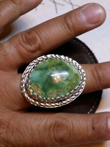 Sterling Silver Stormy Mountain Turquoise Southwest Castellat  Men's Ring Huge
