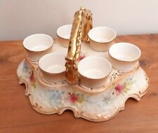 S.F&CO Fieldings Royal Devon Blush 6pc Egg cups on stand gold handle lovely