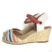Lucky Brand Kyndra Peep Toe Wedge Heel Espadrille Sandals Size 6.5 Ankle Strap
