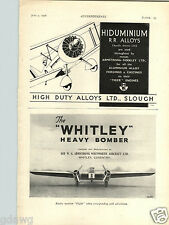 1936 PAPER AD Airplane The Whitley Heavy Bomber Whitworth Aircraft Coventry