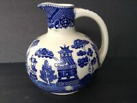 Vintage Asian Porcelain Vase/ Pitcher Cobalt Blue and White Design