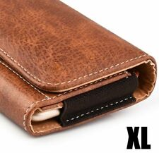 """Samsung Galaxy Note 8 (6.5"""" x 3.5) Brown Leather Belt Clip Horizontal Pouch Case"""