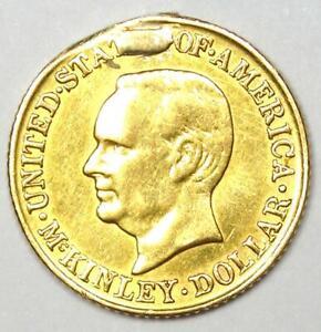 1916 McKinley Commemorative Gold Dollar Coin G$1 - AU Detail (Ex-Jewelry)