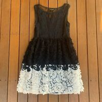 Elliatt Size L Fit Flare Dress Black & White Textured Sheer Lace Slip Cocktail