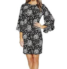 NWT MSRP $110 - MICHAEL KORS Mod Floral Flare Sleeve Dress, Black White, Size XS
