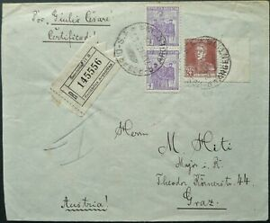 ARGENTINA 23 MAY 1932 REGISTERED COVER FROM ROSARIO TO GRAZ, AUSTRIA