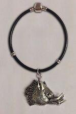 CODICE A69 DEVIL maialino Charm a una d'Argento Bracciale in finta pelle di serpente