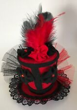 Show Girl Burlesque style Red and Black Mini Top Hat Fascinator