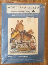 DMC 14 Count Aida Cross Stitch Kit Happy Birthday Cake Bunny Rabbits 21 x 24 cm