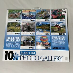 Sure-Lox Collection of 10 Deluxe Jigsaw Puzzles Photo Art Gallery 5600 Pieces