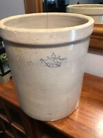 Antique Robinson Ransbottom? Pottery Blue Crown 5 Gallon Stoneware Crock Damaged