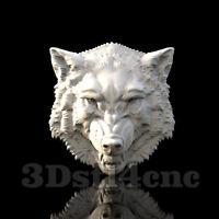 3D Model STL CNC Router Artcam Aspire Wolf Head Cut3D Vcarve